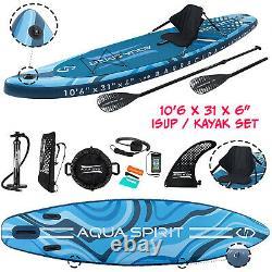 Aqua Spirit 10'6 x 33 x 6 Inflatable Premium SUP Stand Up Paddle Board Kayak Set