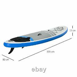 HOMCOM Inflatable Stand Up Paddle Board SUP Accessories Blue