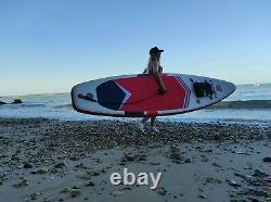 Inflatable Paddle Board Stand Up Paddleboard 106 FT Surfboard Non-Slip Red