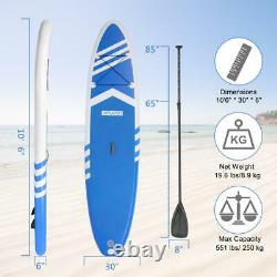 New 10'6 Stand Up Paddle Board Surfboards Inflatable SUP Thick Full Set Blue