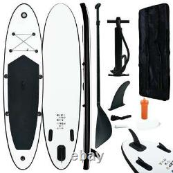 VidaXL Inflatable Stand Up Paddle Board Set Black and White Sporting SUP Board