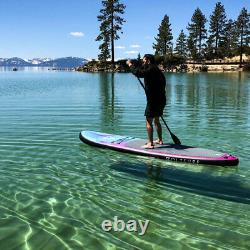 VoltSurf 11 Foot Rover Inflatable SUP Stand Up Paddle Board Kit with Pump, Black