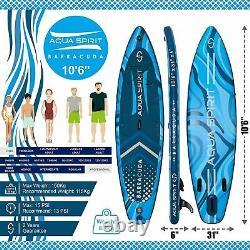 10'6 Stand Up Paddle Board Gonflable Sup Barracuda Blue Avec Siège Kayak & Kit
