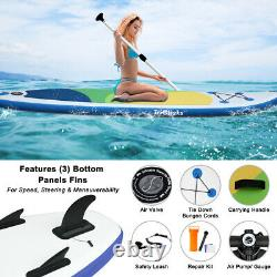 10ft 3fins Gonflable Sup Paddle Board Stand Up Paddleboard Kayak 6 Épaisseur