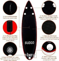 10ft Gonflable Stand Up Paddle Sup Board Surfing Surf Board Paddleboard 3fins