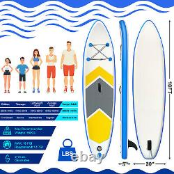 10ft Paddle Board Stand Up Sup Gonflable Kayak Surfing Surfboard Avec Pompe À Bagages Royaume-uni