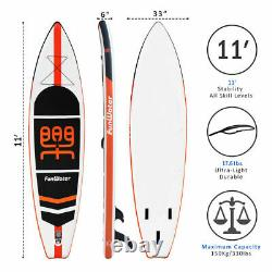 11' Gonflable Stand Up Paddle Board Surfboard Sup Paddelboard Avec Kit Complet