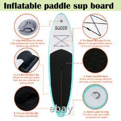 3 Fins Gonflable Sup Paddle Board 10ft Stand Up Paddleboard Kayak 6 Thick Uk
