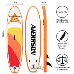 Extra Wide Paddle Board Gonflable Sports Surf Stand Up Sup Surfboard Kit Set Uk