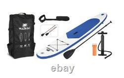 Waikiki Gonflable Stand Up Paddle Board Sup 10ft Bleu Avec Paddle, Pompe & Sac